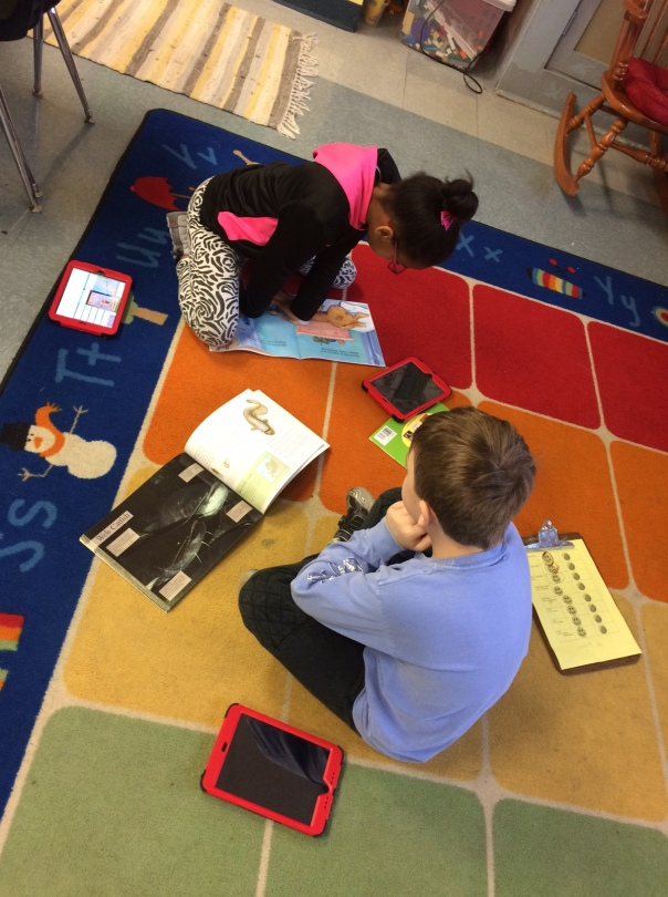 Look at these first grader readers working hard to read their books!