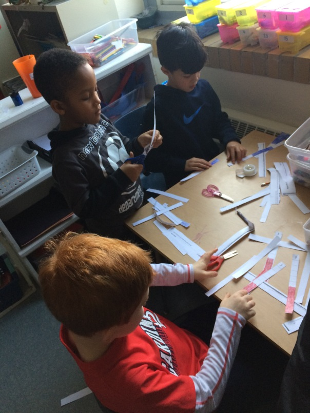 Each mathematician made a tens strip to use in order to facilitate measuring in groups rather than by ones.