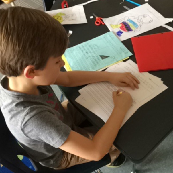 "Charlie worked to turn his ""sloppy copy"" of writing into a ""fancy copy"" as he published his writing piece."