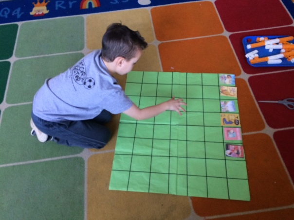 This mathematician tried to figure out how many boxes were on this paper we had worked to measure with our tens strips.