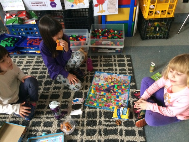 Here are some friends playing Candy Land during our Global Play Day.
