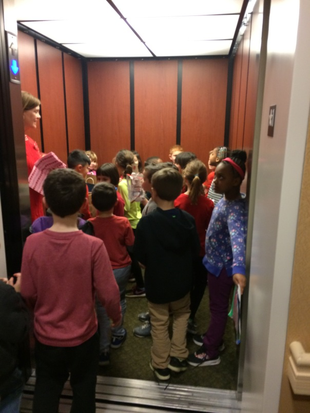 We even ALL squeezed into an elevator with all of our creations!