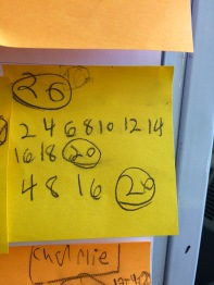 Check out some math thinking to count in groups from our morning work question.