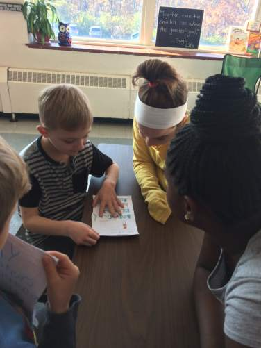 We shared our first grader writing with fourth grade learning buddies.
